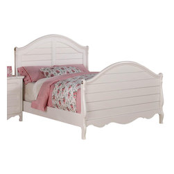 Homelegance - Homelegance Hayley Kids' Panel Bed in White - Twin - Country styling lends itself beautifully to the Hayley collection. Slat paneling is framed on the sleigh headboard and footboard and features an elegant medallion accent on each side. The white finish gives the collection a fresh look perfect for a child's or guest bedroom.