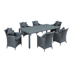 Modway Furniture - Modway Panorama 7 Piece Dining Set in Black Black - 7 Piece Dining Set in Black Black belongs to Panorama Collection by Modway Take in the scenes with an elongated black rattan table and six black rattan chairs with white cushions. Fill your backyard with an elevated array of dishes, entrees and desserts as your company partakes. Entertain well with this nice, modern and functional set. Set Includes: One - Panorama Outdoor Dining Table Six - Panorama Outdoor Chairs Patio Table (1), Patio Chair (6)