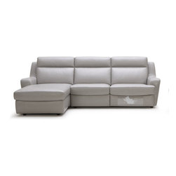 Beverly Hills Furniture Inc. - Konvert Sectional Sofa - This contemporary Konvert Sectional Sofa has a built-recliner and Elephant Grey upholstery.