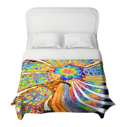 DiaNoche Designs - Sagrada Familia Barcelona Spain Duvet Cover - Lightweight and super soft brushed twill duvet cover sizes twin, queen, king. Cotton poly blend. Ties in each corner to secure insert. Blanket insert or comforter slides comfortably into duvet cover with zipper closure to hold blanket inside. Blanket not included. Dye Sublimation printing adheres the ink to the material for long life and durability. Printed top, khaki colored bottom. Machine washable. Product may vary slightly from image.