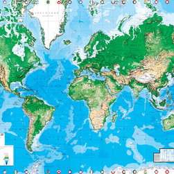 Murals Your Way - EGI Continental World Map Wall Art - Plan your next great adventure while gazing at this map of the world