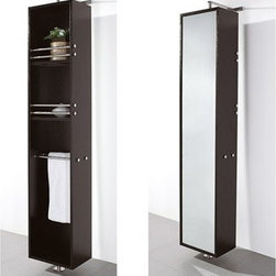 Wyndham Collection(R) - Claire Rotating Floor Cabinet with Mirror by Wyndham Collection - Espresso - The Claire rotating wall cabinet with mirror takes modern looks and bathroom storage to the next level with its clever design. Featuring a space-saving design which rotates 360 degrees this cabinet combines a full length mirror on one side with three large storage spaces and integrated towel racks on the other. This unit mounts to the floor and wall and metal mounting hardware is included. The Claire is a perfect compliment to the Accara, Charlton, Malibu, or to any bathroom in need of functional storage with a clean design. The Wyndham Collection is an entirely unique and innovative bath line. Sure to inspire imitators, the original Wyndham Collection sets new standards for design and construction. Features 8-stage painting and finishing process Constructed of beautiful natural wood veneers over highest quality grade MDF Wall- and Floor-mounted storage cabinet Rotates 360° on floor-mounted post Mirrored fully on one side Metal hardware with chrome finish Two shelves, two towel bars Spec Sheet for cabinet
