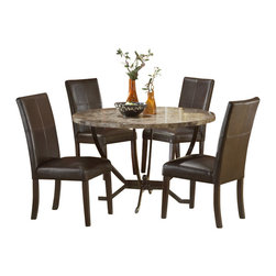 Hillsdale Furniture - Hillsdale Monaco 5-Piece Dining Room Set - Hillsdale Furniture's Monaco dining collection offers luxury and elegance at a price you can afford. A dynamic faux marble top sits atop a dramatic and strong metal globed base, and our sumptuous parson's chairs subtly compliment the rich colors in the table top. Comfortable and understated, the upholstered parson's chairs are covered in a rich brown leather with attractive stitched accents. A fantastic addition to any kitchen or dining room, the Monaco dining is constructed of wood composites, marble veneers, solid wood, and leather. Some assembly required.