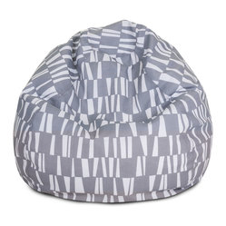 Majestic Home - Outdoor Gray Sticks Small Bean Bag - Beanbags are the ultimate kid-friendly chairs: You can toss them anywhere, let them get kicked around and squished up, and you don't have to worry if this one gets left outside overnight. This small, snazzy beanbag is just the right size for your kid to plop in front of a movie or out by the pool, and its fun patterned slipcover is safe for outdoors and removable for easy cleaning.