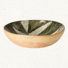 Contemporary Serving And Salad Bowls Botanical Stoneware Serving Bowl