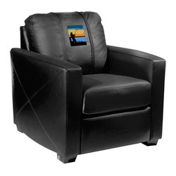Dreamseat Inc. - Fisherman - Sunrise Xcalibur Leather Arm Chair - Check out this incredible Arm Chair. It's the ultimate in modern styled home leather furniture, and it's one of the coolest things we've ever seen. This is unbelievably comfortable - once you're in it, you won't want to get up. Features a zip-in-zip-out logo panel embroidered with 70,000 stitches. Converts from a solid color to custom-logo furniture in seconds - perfect for a shared or multi-purpose room. Root for several teams? Simply swap the panels out when the seasons change. This is a true statement piece that is perfect for your Man Cave, Game Room, basement or garage.