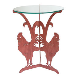Cricket Forge - Rooster Table, Red - Available either in our hand painted Rooster Red or Unfinished Steel, the Rooster Table is the perfect addition to any farmhouse chic dcor. The table is meticulously crafted and beautifully designed with elegant lines and interesting elements which will make this piece a fantastic conversation piece.  Available in Red or Unfinished Steel.  Unfinished Steel: retains natural bare steel appearance when kept indoors. Occasional application of furniture oil will enhance and preserve the sheen. Table will develop a rust patina when used outside or exposed to water or high humidity.