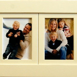 MyBarnwoodFrames - Collage Picture Frame 4-Opening Ivory Frame, 5x7 - Ivory wood collage picture frame with four 5x7 photo openings. Slightly distressed (sanded) edges enhance the frame profile without making it too rustic for everyday use. This frame is great for a child's bedroom, as a wedding gift, or just for your own living room walls. Solid poplar wood, superb construction, with hanging hardware pre-attached. This collage frame can hang horizontally or vertically.