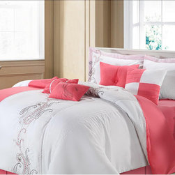 None - Ann Harbor 8-piece Pink/white Comforter Set - Add charming elegance to your bedroom with this embroidered eight-piece comforter set featuring a pink and white color scheme completed by a beautiful paisley embroidering. This contemporary bedding set will complement any d�cor style.
