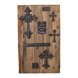 Inspirational Wooden Wall Plaque with Antique Metal Crosses - This wooden wall plaque adds a charming, rustic accent to your home or office. It features metal plaques with inspirational messages and antique crosses on wooden planks. It measures 22 1/2 inches tall, 14 inches wide, 1 inch deep, and easily mounts to the wall by the 2 picture hangers on the back. This piece is sure to be admired, and makes a great gift.