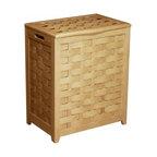 "Oceanstar Design - Rectangular Veneer Laundry Wood Hamper with Interior Bag, Natural - Dimensions: 24""H x 13.5""D x 20""W"