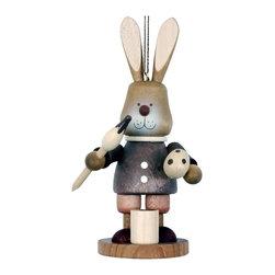 "Alexander Taron - Alexander Taron Christian Ulbricht Ornament-Bunny w/ Basket-4.75""H x 2.25""W x2""D - Christian Ulbricht hanging ornament - bunny boy painting eggs in natural wood finish - made in Germany."