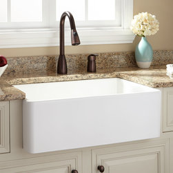 """30"""" Baldwin Fireclay Farmhouse Sink - Smooth Apron - The smooth texture of the 30"""" Baldwin Fireclay Farmhouse Sink makes it a beautiful addition to a kitchen rich with modern embellishments."""
