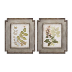 Uttermost - Uttermost 51069  Natures Collage Floral Art Set/2 - These oil reproductions feature a hand applied brushstroke finish. the wood frames feature a center panel with medium brown undertones and dark, taupe distressing. frame's inner and outer edges have a taupe undercoat with light brown and black distressing.