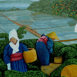 Picking Green Tea Artwork - Let this charming scene cast a vibrant yet tranquil mood over your favorite setting.  The original acrylic painting, signed by the artist, Anthony Dunphy, depicts the simple life of green tea farmers in the Edo period of Japanese history.