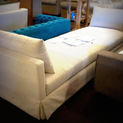CUSTOM LOVESEATS AND CHAISES - FACTORY PICS - wish i had a better picture of this fabulous extra long custom settee !