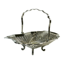 Lavish Shoestring - Consigned Silver Plated Dessert Fruit Basket, Antique English, 19th Century - This is a vintage one-of-a-kind item.