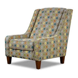 Chelsea Home - Hardwood Accent Chair - Medium seating comfort. Reversible seat cushions. Created with sinuous springs to provide no sag seating. 1.8 dacron wrapped foam cores with outside padding on arms and back for added comfort. Picadilly lagoon covers. Fabric content: Polyester. Nailed, stapled and corner blocked frame. Frame provide strength and durability. Made from plywood. Made in USA. No assembly required. 32 in. W x 40 in. D x 41 in. H (75 lbs.)