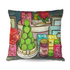 DiaNoche Designs - Pillow Linen - Diana Evans Laduree Window Shopping II - Soft and silky to the touch, add a little texture and style to your decor with our Woven Linen throw pillows.. 100% smooth poly with cushy supportive pillow insert, zipped inside. Dye Sublimation printing adheres the ink to the material for long life and durability. Double Sided Print, Machine Washable, Product may vary slightly from image.