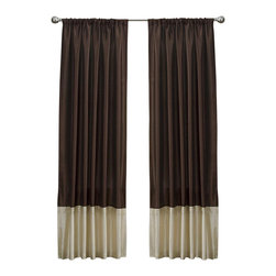 Lush Decor - Lush Decor Flourish Curtain Panel in Brown - Curtain rod, lamp and round table not included. Rod pocket slides onto curtain rod for installation. Dry clean. Single valance with lining. Faux silk with pleat detail. 100% Polyester. 84 in. L x 54 in. W (2 lbs.)