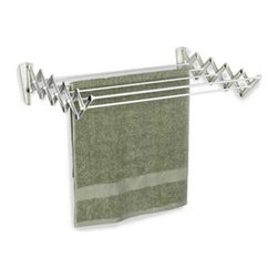 Accordion Drying Rack - A functional addition to any laundry room, this wall mounted drying rack is a compact and versatile spin on the traditional collapsible dryer rack. Hang anything from towels to intimates, without cluttering your precious floorspace.