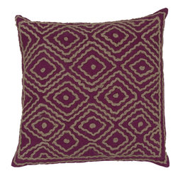 "Surya - Surya 20 x 20 Decorative Pillow, Bright Fuchsia and Olive Gray (LD032-2020P) - Surya LD032-2020P 20"" x 20"" Decorative Pillow, Bright Fuchsia and Olive Gray"