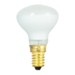 Bulbrite - Incandescent Mini Reflector Bulbs in Clear Sh - One pack of 25 Bulbs. 130V E14 European base bulb. Flood beam spread. Long life. Ideal for dramatic accent and display lighting as well as general applications. To fit any ceiling fan, amusement, recessed, pendant, downlight, sign, display and track application. Dimmable. Average hours: 4000. Color temperature: 2600 K. Color rendering index: 100. Wattage: 40 watt. Lumens: 280 CP. Maximum overall length: 2.62 in.