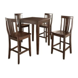 Crosley - Crosley Tapered Leg Pub Dining Set with Shield-Back Stools (5-Piece Set) - Casually elegant, this pub set brings modern sophistication to any dining area. Crafted of solid hardwood and veneers this set offers durability and the understated beauty of a rich finish that is hand-rubbed in multiple steps.
