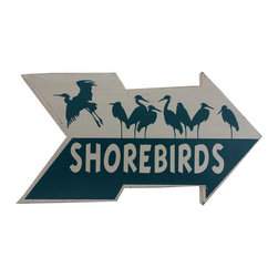 Handcrafted Nautical Decor - Wooden Arrow Shorebirds Beach Sign 10'' - Feel the cool, crisp ocean breeze blow in off the Atlantic, the tolls of harbor and ship bells ringing out through the misty morning, and enjoy this enchanting nautical themed sign. Short and sweet, the Wooden Arrow Shorebirds Beach Sign 10'' perfectly accessorizes your home, office, or even your very own vessel. With its beautiful hand painted appearance, express your love for the sea, the freedom of the open ocean, and the timelessly serene ambiance of nautical life. -- ----    Solid wooden  plank--    Handcrafted and highly detailed--    Meticulously painted nautical theme--
