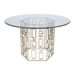 """Worlds Away - Worlds Away Champagned Silver Leaf Dining Table Base with 54""""Dia Glass Top JACKS - Champagned silver leaf dining table base with 54"""" diameter round beveled glass. Glass is 3/8"""" thick."""