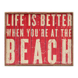 "Vintage Coastal Collection - Plaque measures 14L x 11H in Crafted of wood composite Hues of red and white Features rope trim Text reads ""Life is better when you're at the beach"""