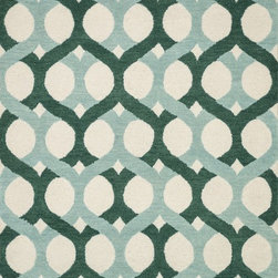 """Loloi Rugs - Loloi Rugs Weston Collection - Blue / Green, 7'-9"""" x 9'-9"""" - Feast your eyes on this. Hand-tufted in India of 100% wool, the tastefully designed Weston Collection features vibrant colors and bold, graphic patterns that instantly uplift the mood of your room. What's more, each Weston rug is crafted with a combination of colorful cut pile and ivory loops - adding a sense of depth and drama to these amazingly textural rugs."""