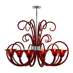 Oggetti - Lele Chandelier - Lele Chandelier is available in a Chrome finish with Red, Clear or Smoke decorative elements. A sleek contemporary version of the traditional Italian chandelier, Lele is designed by the well-known Carlo Nason. Each chandelier has six lit globes and several decorative elements. Handmade in Venice, Italy. No two shades are exactly alike. There will always be variations, which are typical of a handmade product and contribute to its beauty. Six 60 watt, 120 volt B10 type Candelabra base Incandescent lamps are required but not included. 39 inch width x 27 inch height. UL Listed.
