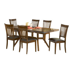 Hillsdale Furniture - Hillsdale Arbor Hill 7-Piece Dining Room Set - Charm your guests with Hillsdale Furniture's Arbor Hill dining collection. Too modern to be country, but to rustic to be contemporary, with a classic mission styled chair and an unusual symmetrically sculpted table base, the Arbor Hill is a perfect blend of cozy and chic. Featuring a rich colonial chestnut finish, oil rubbed bronze decorative accents, versatile and comfortable brown leather waterfall seats and a butterfly leaf extension table, this ensemble will become the dining and entertainment center in your home. Composed of solid wood.