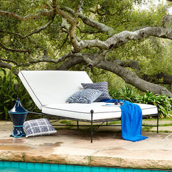 "Horchow - Avery Neoclassical Outdoor Double Chaise - WHITE/BLACK - Avery Neoclassical Outdoor Double ChaiseDetailsClassic black and white outdoor double chaise roomy enough for two.Steel frame and aluminum finials with powder-coated finish.Cushions covered in polyester fabric and filled with quick-dry foam and polyester fiber.86""L x 56""W x 14.5""T.Imported.Boxed weight approximately 178 lbs. Please note that this item may require additional delivery and processing charges."