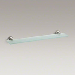 KOHLER - KOHLER Purist(R) glass shelf - Purist accessories combine architectural forms with sensual design lines for a modern, minimalist look. This glass shelf offers a convenient place to store your bath toiletries or decorations, echoing the elegant simplicity of the Purist Collection.