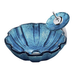 Vigo Industries - Seashell Glass Vessel Sink and Faucet Set - The VIGO Mediterranean Seashell glass vessel sink and matching waterfall faucet set will give your bathroom the cool, refreshing atmosphere of the ocean all year round.