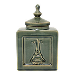 """ecWorld - Urban Designs Eiffel Paris 9"""" Decorative Ceramic Accent Jar - Cracked Green - An elegant addition to tables or counters, this beautiful lidded jar is a gorgeous addition to any home decor."""
