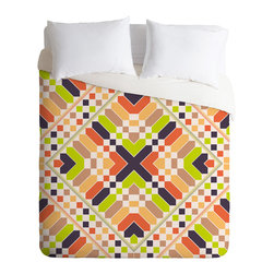 Budi Kwan Retrographic Picnic Queen Duvet Cover - You're sure to wake up in a good mood with this fun duvet cover on your bed. Made from soft woven polyester, it features lime, peach, plum, terra-cotta and white custom-printed in a pop-art-retro quilt-like pattern.