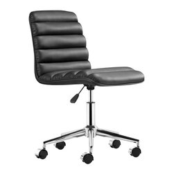 ZUO - Zuo Admire Office Chair in Black - ZUO - Office Chairs - 205710 - The Admire office chair has a sleek and comfy shape wrapped in a soft padded leatherette with an adjustable life and rolling base.