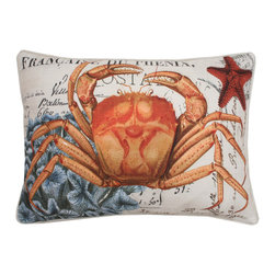 Thro - French Coastal Crab Feather Fill Throw Pillow - Add a touch of the beach to your home decor with this french coastal crab printed pillow. Made from faux linen and feather fill, this decorative pillow features a hidden zipper closure and removable cover.