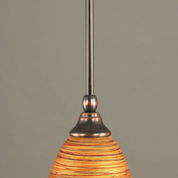 Toltec Lighting - Black Copper Stem Mini Pendant with FirrT Saturn Glass - - 7-Inch Firre Saturn Glass  - Bulbs not included  - Comes with 1-6-Inch, 2-12-Inch, and 1-18-Inch stem sections  - Comes with a hang straight swivel Toltec Lighting - 23-BC-454