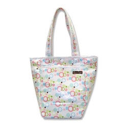 """Trend Lab - Diaper Bag - Cupcake Mini Tote - Trend Lab's Mini Tulip Tote is the perfect on-the-go accessory for quick outings where a large diaper bag is unnecessary. It's perfect for short shopping trips and can hold a bottle, diapers, wipes and other small necessities! Or use this wonderful bag as a toy bag, beach bag, lunch tote, or cosmetic bag. This Mini Tulip Tote allows you to conveniently pack the essentials and go!. Cupcake Mini Tulip Tote features icing bubble dots in bubblegum and hot pink, robin's egg and turquoise blue, limeade and green apple, and chocolate with a sweet candy colored stripe print trim and lining. Bag features a laminated exterior for easy clean up and durability, a snap closure and one exterior pocket. Bag measures 7"""" x 9 1/2 """" x 4"""" and features two handles measuring 16 1/2 """" in length."""