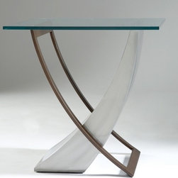 Johnston Casuals - Crescent End Table - These tables are functionally artistic as they showcase treasures, works of art and literature, and even a collection or two. But it's understandable if these tables serve more often as contemporary icons in their own right. They're timely accents with a rare balance of form and function that is the essence of contemporary design. Features: -Contemporary style.-Innovative design.-Individually hand crafted.-Commercial grade welding.-Square shape.-Made in the USA.-Construction: High quality powder coat metal.-Collection: Crescent.-Distressed: No.-Country of Manufacture: United States.Dimensions: -Overall Product Weight: 62 lbs.Warranty: -Manufacturer provides ten years structural warranty on metal frames.