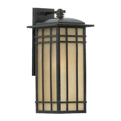 Quoizel - Hillcrest 8409/11 Outdoor Wall Sconce by Quoizel - The strong lines and rich tones of the Quoizel Hillcrest 8409/11 Outdoor Wall Sconce are ideal for exteriors both Craftsman and contemporary. It features a lengthy cast aluminum frame in a deep Imperial Bronze that sets off the texture and tone of the Linen glass shade. The glass is opaque to reduce glare and hot spots. For more than 80 years, Quoizel (based in Charleston, SC) has dedicated itself to bringing timeless lighting designs into modern homes. By consciously avoiding design fads, consistently balancing form and function and using only the highest quality materials, Quoizel lighting designs do indeed stand the test of time.