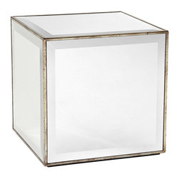 John Richard - John Richard Mirror Cube Side Table EUR-03-0230 - Side table with antique silver leaf molding and dramatic wide beveled mirror throughout.