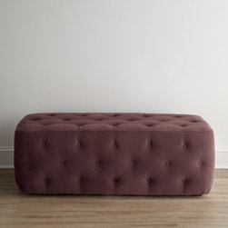 'Dixon' Rectangular Ottoman, Purple Heather - I love the classic lines of this ottoman. The subdued heathered purple shade makes it seem very now and modern.