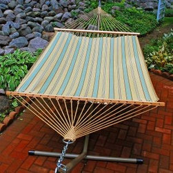 Algoma Net Company, Div. of Gleason Co - 13' Fabric Hammock - Crestwood Spa Stripe - Extra comfort is waiting for you in this 13 foot fabric hammock. Made for two, it's the perfect place to spend time with someone special. This beautiful hammock is made from weather resistant spun polyester fabric and will give you years of enjoyment. Made in the USA.