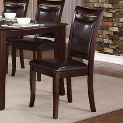 Homelegance - Homelegance Maeve Side Chair w/ Dark Brown Bi-Cast Vinyl Seating - Lacking any appearance of pretension, the Maeve Collection provides a stylish spot for your family to enjoy their time together. A dark cherry finish on the table and wood frame chairs is complimented by the seats of dark brown bi-cast vinyl covered chairs. The cutout that tops each chair back is a simple design element that lends graceful style to this modest dining collection. - 2547S.  Product features: Dark Brown Bi-Cast Vinyl Seating; Dark Cherry finish. Product includes: Side Chair (1). Side Chair w/ Dark Brown Bi-Cast Vinyl Seating belongs to Maeve Collection by Homelegance.