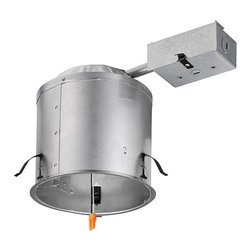 "Lithonia - Lithonia 6"" LED IC/Non-IC Remodel Housing - This dedicated6"" LED recessed housing is rated IC or non-IC and is for use in remodel construction applications only. Approved for factory-assembled wiring only and for direct burial in insulation. Aluminum housing construction and three remodel clips allow installation in existing plaster sheet rock or mechanical ceilings. Includes ground wire and a removable J-box door for easy access. Quick disconnect provided for power connection to the LED module. Clip adjustment on housing (up to 1 1/4"") allows for flush-mounting with ceiling face. UL-listed and rated for wet location; Title 24-compliant. Compatible with Lithonia Lighting recessed light products. 6"" LED IC/non-IC recessed light housing for remodel construction only. Air tight aluminum housing construction with 3 remodel clips included. Heavy-gauge galvanized steel raceway arm. Ground wire and removable J-box door provided. 120 volt only. 2"" x 8"" existing ceiling or T-bar ceiling panel installation. Clip  6"" LED IC/non-IC recessed light housing for remodel construction only.  Air tight aluminum housing construction with 3 remodel clips included.  Heavy-gauge galvanized steel raceway arm.  Ground wire and removable J-box door provided.  120 volt only.  2"" x 8"" existing ceiling or T-bar ceiling panel installation.   Clip adjustment allows flush-mounting.  Quick disconnect for power connection to LED module.  UL-rated listed for wet locations and Title 24-compliant.  Compatible with Lithonia Lighting recessed products.  7 1/2"" wide.  12 1/4"" deep.  7 1/2"" high.  Ceiling opening 6 75/8""; ceiling cut-out template 6.65""."